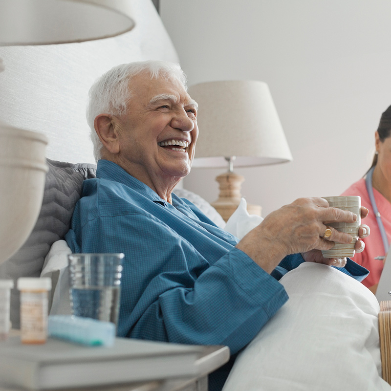Elderly patient laughing